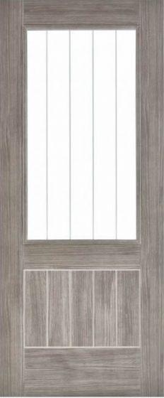 Mexicano Light Grey Laminate Clear Glazed Internal Door