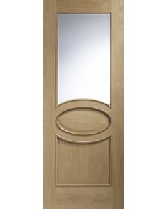 Calabria Oak With Clear Bevelled Glass and Raised Mould Internal Doors