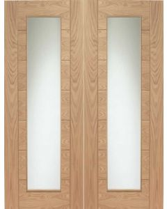 Palermo Oak Pair With Clear Glass Internal Doors