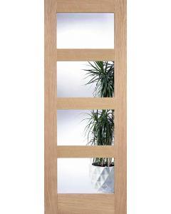 Contemporary Oak Shaker 4 Panel Clear Glazed Internal Door