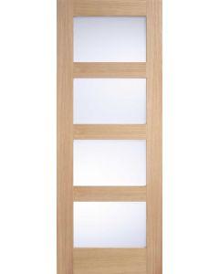 Contemporary Oak Shaker 4 Panel Frosted Glazed Internal Door