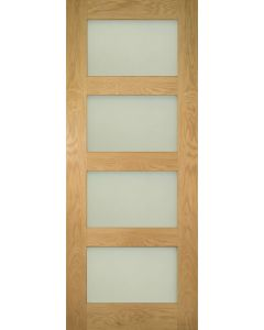 Coventry Oak 4 Panel Obscure Glazed Internal Door