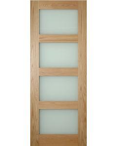 Coventry Oak 4 Panel Obscure Glazed Pre-Finished Internal Door