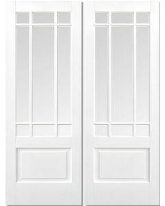 Downham White Bevelled Glazed Primed Pair