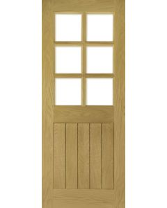 Ely Oak Glazed with Clear Bevelled Glass Internal Door