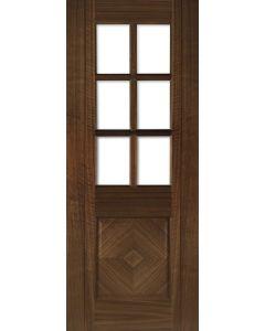 Kensington Walnut Pre-Finished Clear bevelled Glazed Internal Door