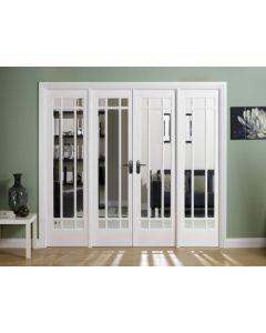 W8 Manhattan White Primed Bevelled Glazed Room Dividers
