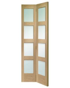 Shaker Oak 4 Light (BI-FOLD) With Clear Glass Internal Door
