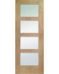 Shaker Oak 4 Light With Clear Glass Internal Fire Door FD30