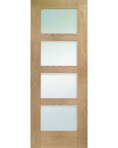 Shaker Oak Glazed Obscure Internal Fire Door FD30
