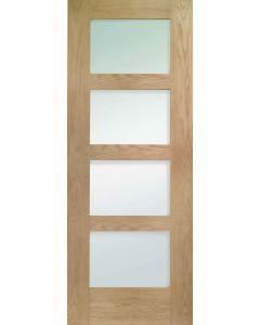 Shaker 4 Panel Oak Pre-Finished Obscure Glazed Internal Door