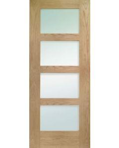 Shaker Oak Frosted Glazed Internal Door