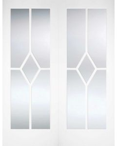 Reims Bevelled Clear Glazed Primed Solid Internal Pair