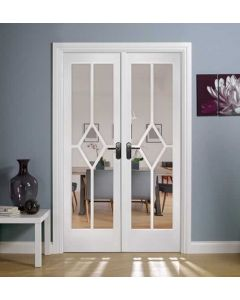 Reims W4 Bevelled Clear Glazed Primed Solid Internal Room Dividers