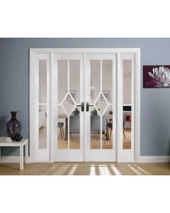 Reims W6 Bevelled Clear Glazed Primed Solid Internal Room Dividers