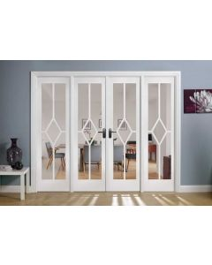 Reims W8 Bevelled Clear Glazed Primed Solid Internal Room Dividers
