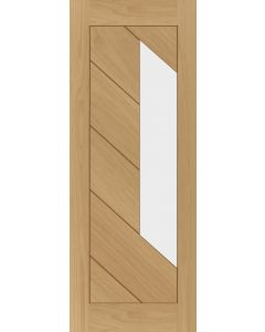 Torino Oak Clear Glazed Pre-Finished Fire Door FD30
