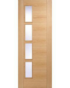 Vancouver Oak Clear Glazed 4 Light Offset Pre-Finished Internal Door
