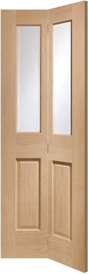 Malton Oak Clear Glazed Bi-Fold Internal Door