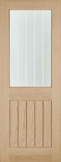 Belize Oak Clear Glass With Frosted Lines Glazed Internal Door