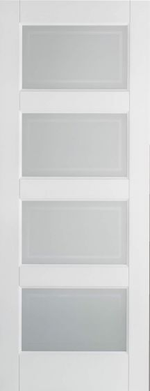 Contemporary White Primed Frosted Glazed Internal Door