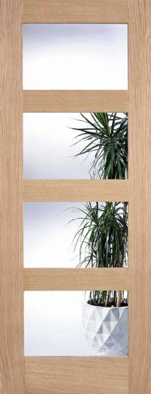 Contemporary Oak Shaker 4 Panel Clear Glazed Internal Doors