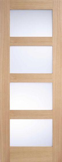 Contemporary Oak Shaker 4 Panel Frosted Glazed Internal Doors