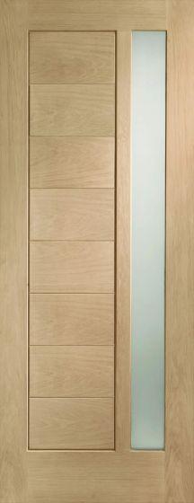 Modena with Obscure Double Glazed Oak External Door