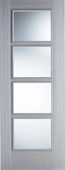 Vancouver Light Grey Clear Glazed Fire Door FD30