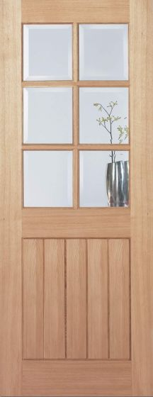 Mexicano Oak 6 Light with Bevelled Glass Pre-Finished Internal door