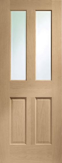 Malton / 4 Panel / Regency Clear Glazed Oak Internal Fire Door FD30