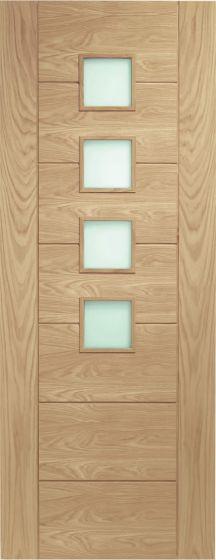 Palermo Oak with Obscure Glass Oak Internal Fire Door FD30