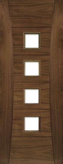 Pamplona Walnut Pre-Finished Clear Glazed Internal Fire Door FD30