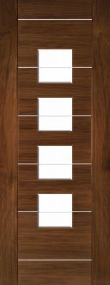Valencia Walnut Clear Glazed Pre-Finished Internal Door