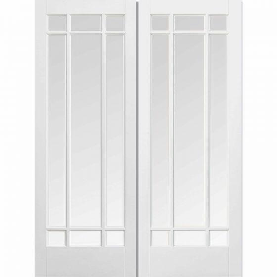 Manhattan White Pre-Primed Pair Clear Beveled Glazed Internal Doors