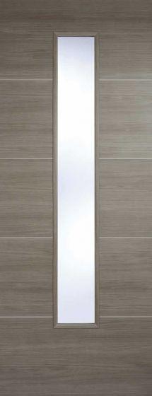 Santandor Iight Grey Laminate Clear Glazed Internal Door
