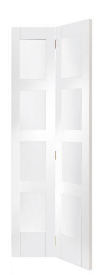 Shaker 4 Panel White Primed Clear Glazed Bi-Fold Internal Door