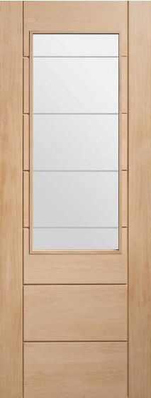 Palermo 2xg Oak With Clear Etched Glass Internal Door