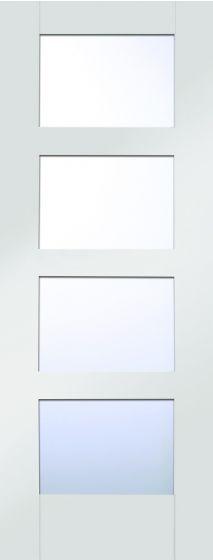 Shaker 4 Panel White Primed Clear Glazed Internal Door