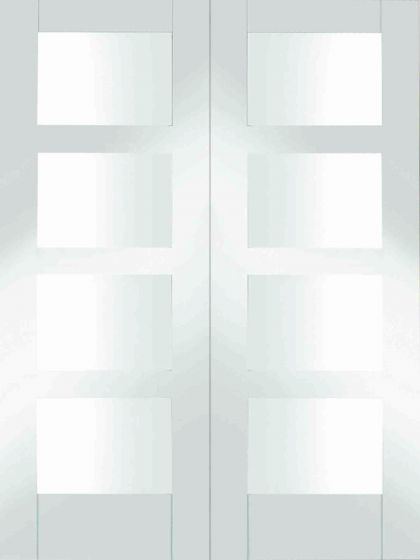 Shaker 4 Panel White Primed Clear Glazed Pair Internal Door