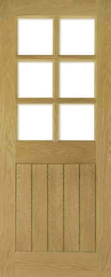 Ely Oak Glazed Pre-Finished with Clear Bevelled Glass Internal Doors