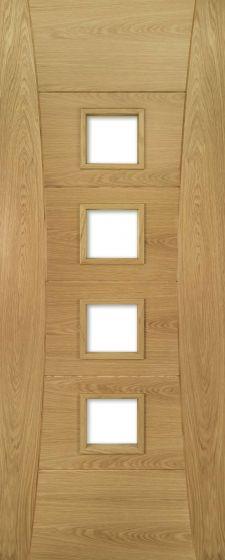 Pamplona Oak Pre-Finished Clear Bevelled Glazed Internal Door