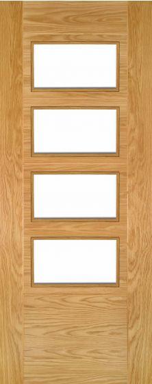 Seville Oak 4 Light Pre-Finished Clear Glazed Internal Door